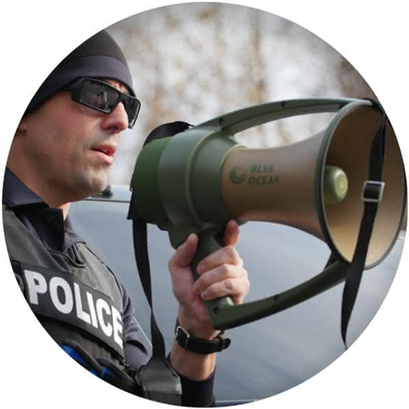 The Blue Ocean Megaphone is used by Military and Law Enforcement agencies around the world.